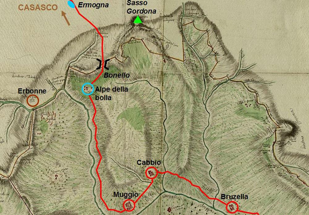 Mappa della Valle Intelvi e viabilità antica